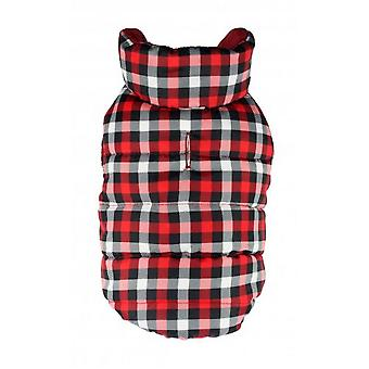 Hip Doggie Gingham Reversible Touch Fastening Puffer Dog Jacket