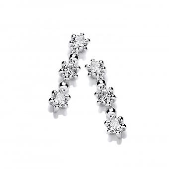 Cavendish French Silver & Cubic Zirconia Tri Star Earrings