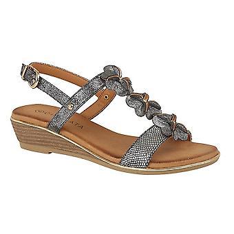 Cipriata Womens/Ladies Flower Halterback Wedge Sandals