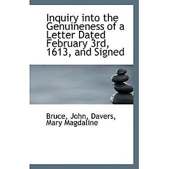 Enquête sur l'authenticité d'une lettre datée du 3 février 1613 et signé