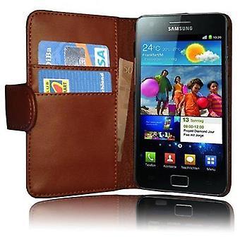 Cadorabo Estuche para Samsung Galaxy S2 / S2 PLUS Funda de la funda - Funda del teléfono en cuero sintético liso con la función del soporte y la caja de la tarjeta - funda de la funda de la caja caso del libro plegable del libro plegable del libro del plegable