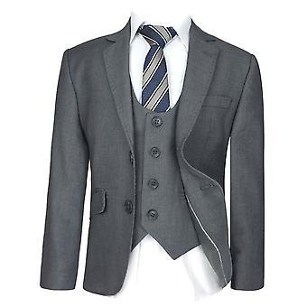 Boys  Slim Fit  Grey Suit Set