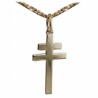 9ct Gold 20x17mm Cross of Lorraine with a curb Chain 20 inches