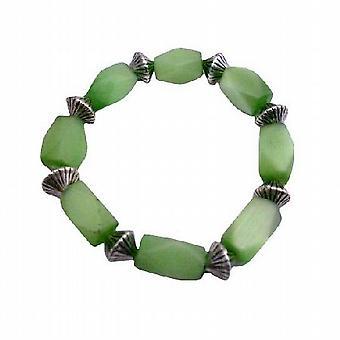 Zielony baryłkę Cat Eye elastyczny bransoletą Daisy odstępy koraliki bransoletą
