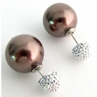 Fram och tillbaka Double Pearl inlägg tillbaka Stud örhängen brun pärla Stud