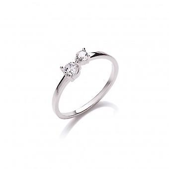 Cavendish francia ezüst és CZ egyszerű nyitott gyűrű