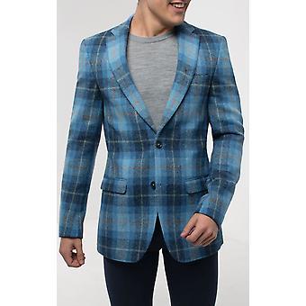 Schotse Harris Tweed mens blauwe selectievakje Tweed jas regular fit 100% wol inkeping revers