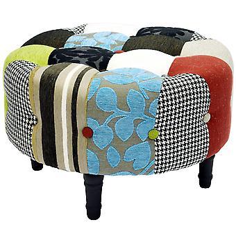 Plyšová patchwork-okrúhly taburetka Vatovaná podnožka s drevenými nohami-modrá/zelená/červená