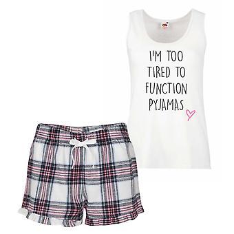 Too tired To Function Pink Tartan Pyjamas