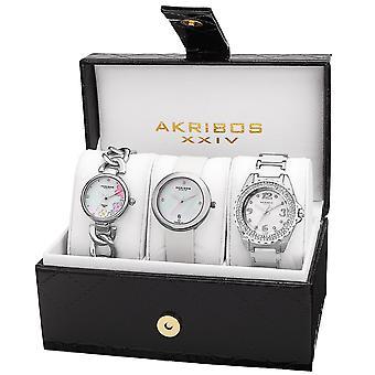 Akribos XXIV Women es AK887 Diamond Bracelet/Strap Watch Set AK887SS