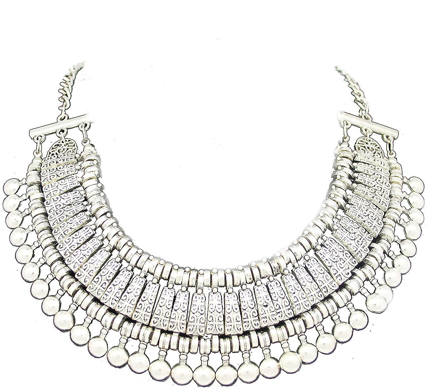 Silver ladies style jewel statement crystal necklace