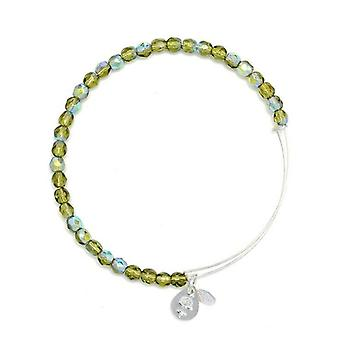 Alex and Ani Moss Rock Candy Beaded Silver Bangle BBEB172S