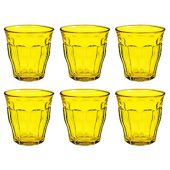 Duralex Set of 6 Picardie Colors Yellow Tumblers, 25cl