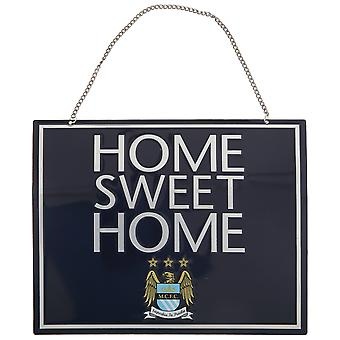 Manchester City FC Official Metal Home Sweet Home Football Crest Sign