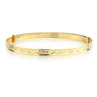Jewelco London 9ct Yellow Gold 3mm Expandable Baby Bangle Bracelet 42mm-54mm