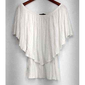 Kate et Mallory Off The Shoulder Sleeveless Overlay Top blanc A425667