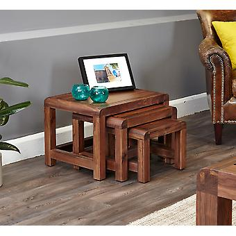 Shiro Walnut Nest of 3 Coffee Tables Brown - Baumhaus