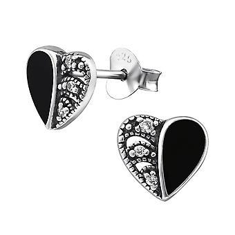 Heart - 925 Sterling Silver Cubic Zirconia Ear Studs - W30953X