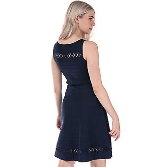 Womens French Connection Kai Crepe Knit Fit And Flare Dress In Duchess Blue