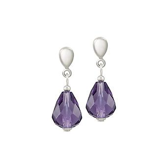 Eternal Collection Sophistication Amethyst Crystal Silver Tone Drop Screw Back Clip On Earrings