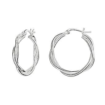 Dew Sterling Silver Two Wire Twist Hoop Earrings 66816HP028