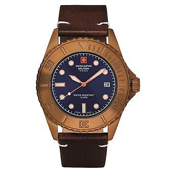 Reloj militar alpino suizo reloj analógico de cuarzo vintage 7051.1595SAM cuero