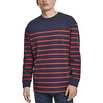 Urban Classics - Color Block Stripe Boxy Longsleeve navy red
