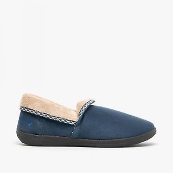 Padders Mellow Ladies Fleece Extra Wide (2e) Full Slippers Denim Blue