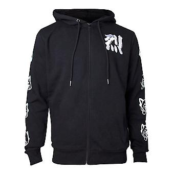 Aggretsuko Sleeve Faces Full Length Hoodie Male XX-Large Black (HD184141AGG-2XL)