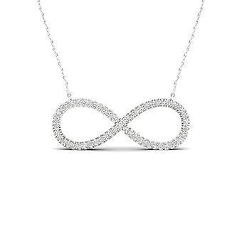 IGI certyfikat stałe 10k białe złoto naszyjnik Infinity 0,15 Ct diament