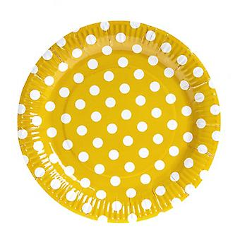 TRIXES 10PC Pack Yellow Polka Dot Party Paper Plates
