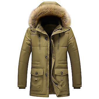 Allthemen Men 's Solid Hodded Mid-Length Wool Coat Winter Warm Thick Acolchoado Outwear Fluffy Hoodies