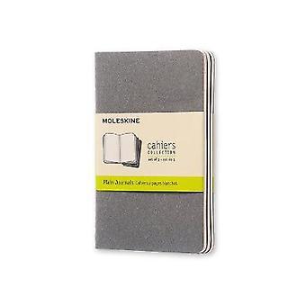 Moleskine Pebble Grey Plain Cahier Pocket Journal 3 Set