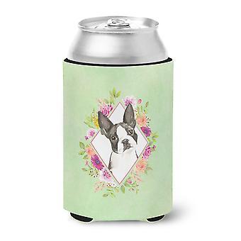 Carolines Treasures  CK4417CC Boston Terrier Green Flowers Can or Bottle Hugger
