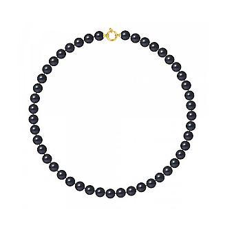 Kvinners hals krage perler kultur av ferskvann AA 9-10 mm og gult gull lås 750/100
