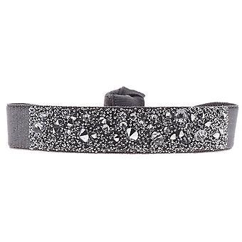Armband verwisselbaar A38129 - stof grijs vrouw Swarovski kristallen armband