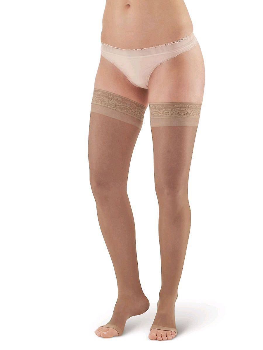 Pebble UK Toeless Sheer Support Thigh Highs [Style P45] Beige  M