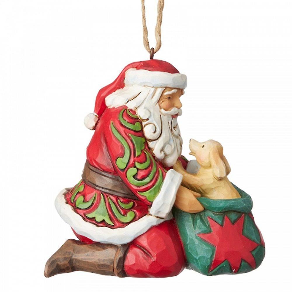 Jim Shore Heartwood Creek Santa With Dog In Bag Hanging Ornament