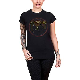 Def Leppard T Shirt Vintage Circle logo new Official Womens Skinny Fit Black