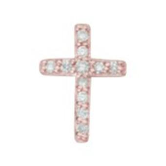 14k Rose Gold Single 0.05 Dwt Diamond Religious Faith Cross Stud Boucles d'oreilles Bijoux Bijoux pour hommes