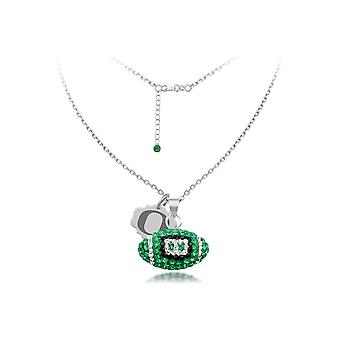 925 Sterling Silver Rhodium Plated Spirit Football Necklace University Of Oregon 18 Inch Jewelry Gifts for Women