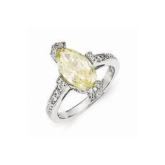 Cheryl M 925 Sterling Silver Textured Yellow and White CZ Cubic Zirconia Simulated Diamond Marquise Ring Jewelry Gifts f