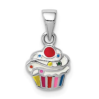 925 Sterling Silver Rhodium plated for boys or girls Enameled Cupcake Pendant Necklace - .8 Grams