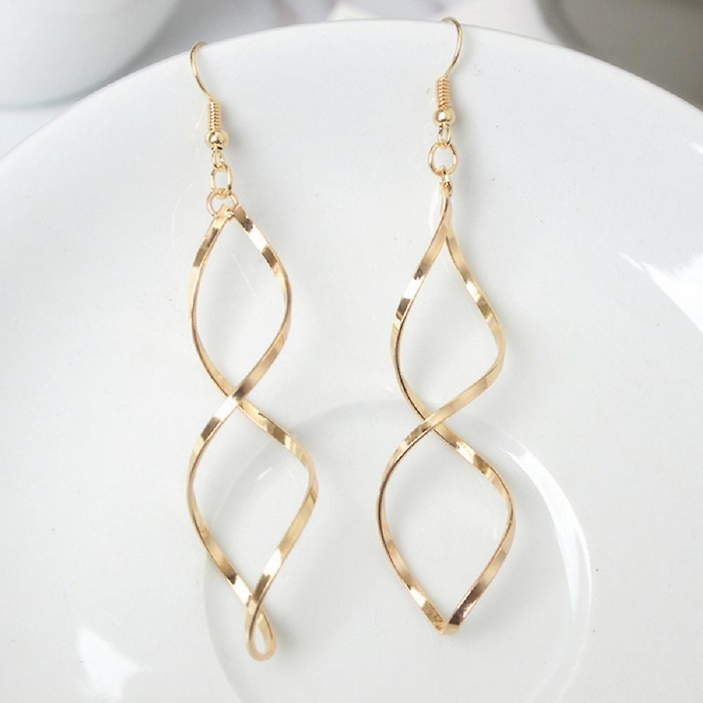 Gold Double Spiral Drop Earrings