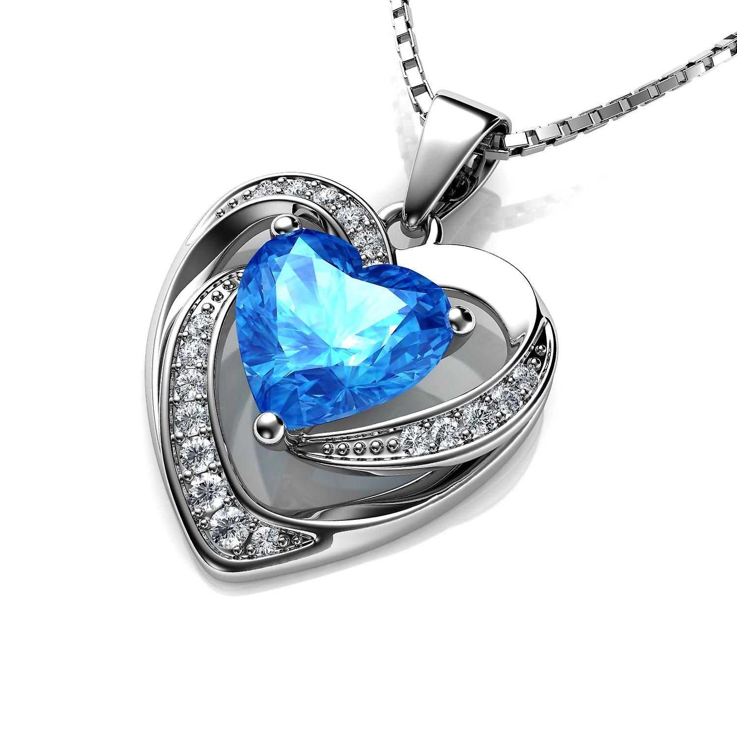 Dephini blue double heart necklace - 925 sterling silver cz crystal