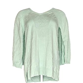 H af Halston Women's Sweater V-Neck Pullover Sweater Cape Green A300996