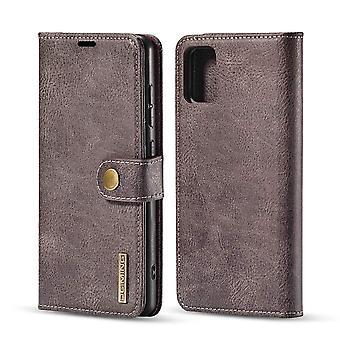 Dg. MING Samsung Galaxy A71 Split Leather Wallet Case - Grey