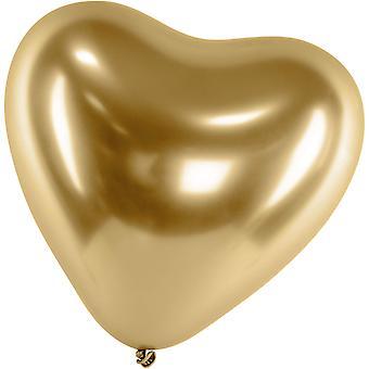 Ilmapallot Latex Heart Gold | Kromi | Refleksi | Kiiltävä | Peili