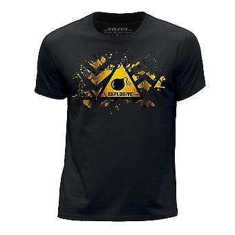 STUFF4 Boy's Round Neck T-Shirt/Splat/Hazard/Explosive/Black