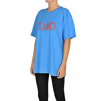 Alberta Ferretti Ezgl095026 Dames's Blue Cotton T-shirt